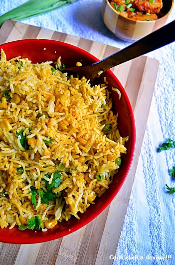 Corn peas pulao recipe | how to make peas-corn pulao recipe