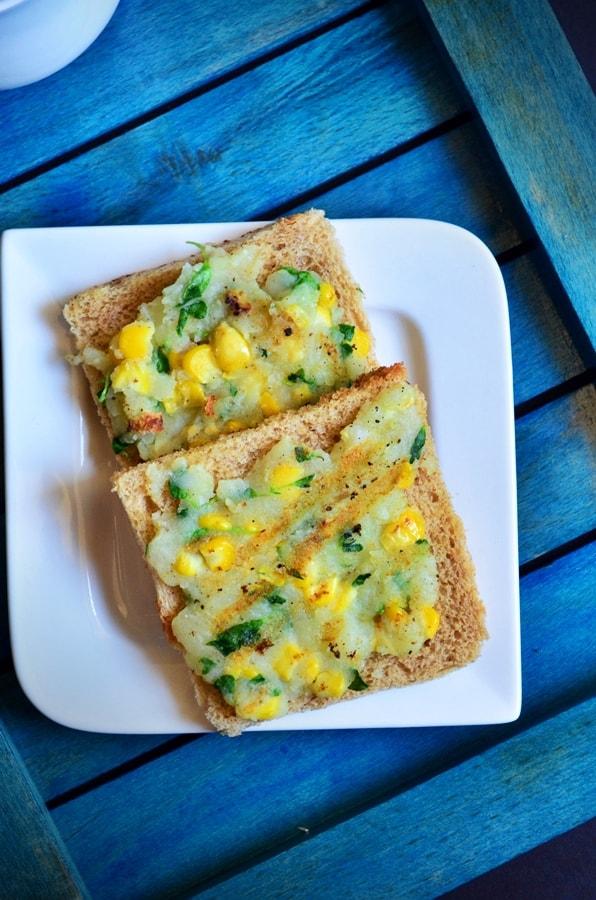 Creamy corn toast recipe   Corn potato open toast recipe