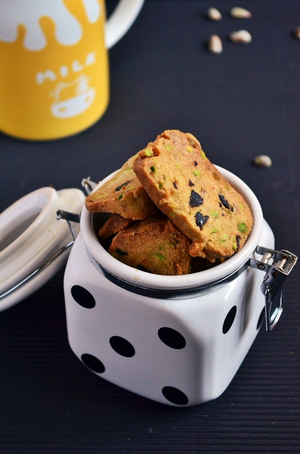 Pistachio cranberry shortbread recipe   Eggless pista cookies recipe