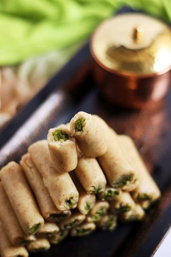 Kaju pista roll recipe | Diwali 2015 sweets recipes