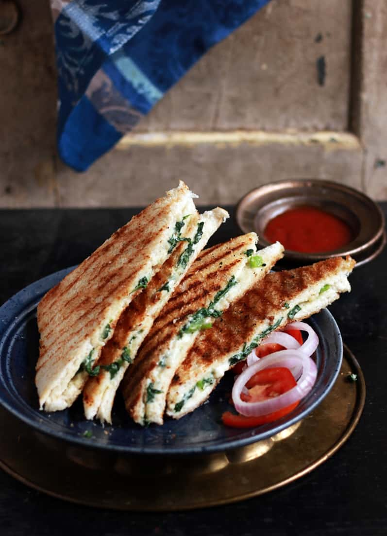 Spinach and cheese sandwich recipe |Spinach sandwich recipe