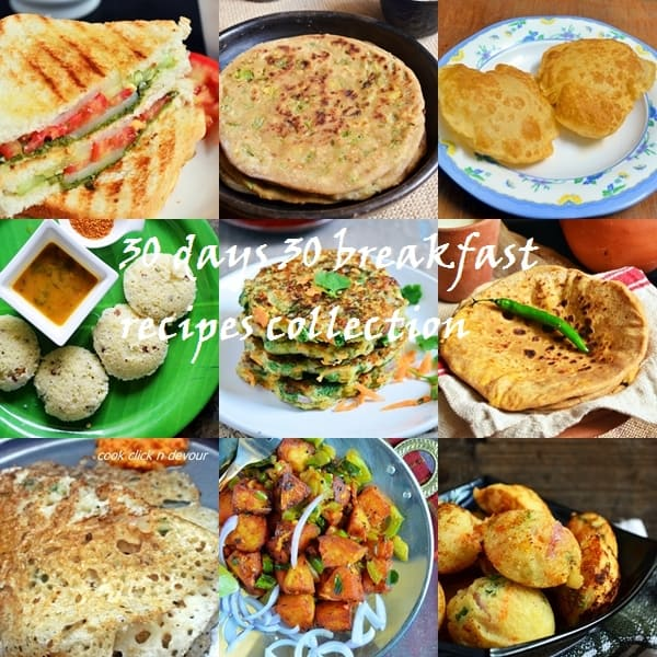 30 days 30 recipes series- 30 breakfast recipes collection