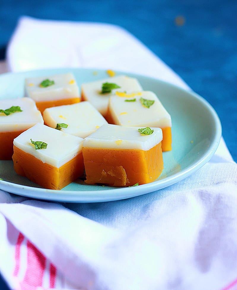Mango coconut jelly recipe | Mango agar agar jelly recipe