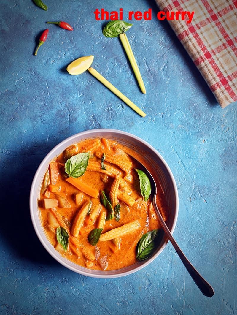 thai red curry recipe vegetarian | how to make veg thai red curry recipe